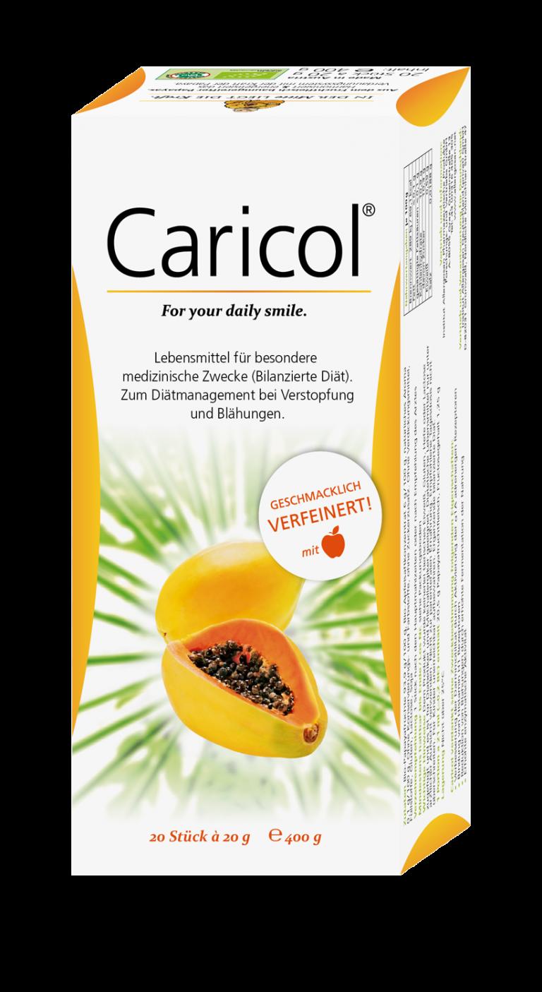 Caricol® ist ein reines Naturprodukt aus baumgereiften Papayafrüchten. Das patentierte Herstellungsverfahren von Caricol® vervielfacht die verdauungsfördernden Eigenschaften der Papaya. So entsteht ein natürliches Konzentrat zur Regulierung und Aktivierung der Verdauung.